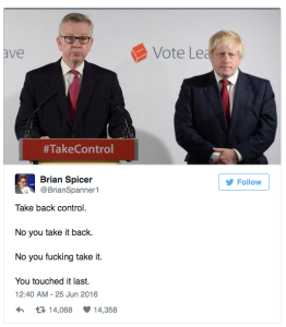 Take back control tweet